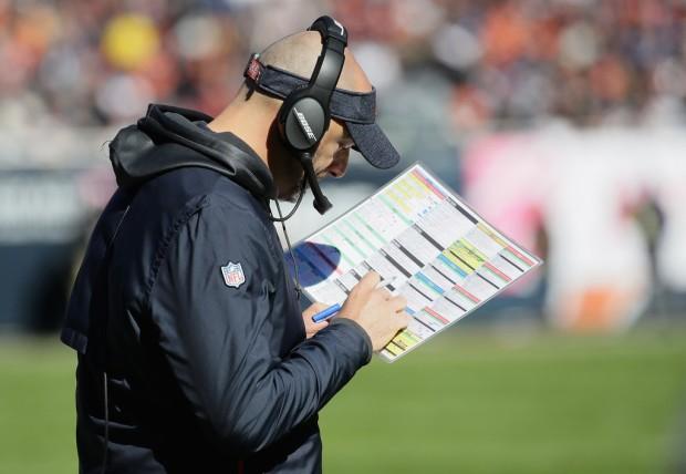 Chicago Bears head coach Matt Nagy looks over his play sheet against the New England Patriots
