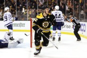 Boston Bruins forward Sean Kuraly celebrates a goal against the Toronto Maple Leafs