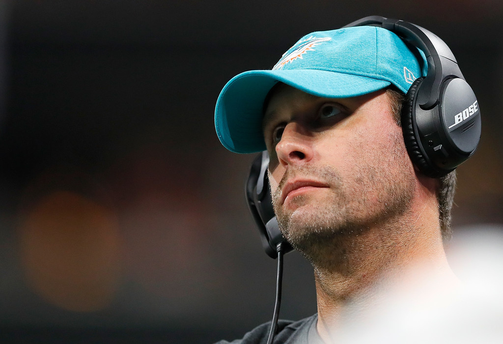 Former Miami Dolphins head coach Adam Gase looks on during the game against the Atlanta Falcons
