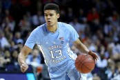 North Carolina Tar Heels guard Cameron Johnson goes to the basket against the Virginia Cavaliers in the 2018 ACC Men's Basketball Tournament