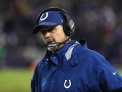 Former Indianapolis Colts head coach Chuck Pagano looks on against the Baltimore Ravens