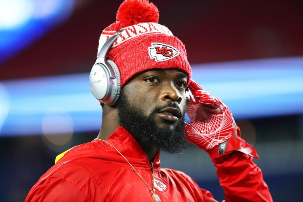 Kansas City Chiefs running back Damien Williams looks on before the game against the New England Patriots