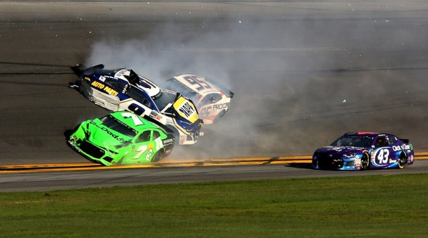 Monster Energy NASCAR Cup Series driver Chase Elliott has a track incident with Danica Patrick and Kasey Kahne during the Daytona 500