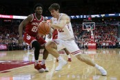 Wisconsin Badgers forward Ethan Happ dribbles to the basket against the Indiana Hoosiers