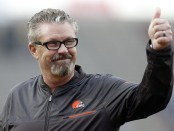 Former Cleveland Browns Interim Head Coach Gregg Williams reacts after a play at the 2017 Reese's Senior Bowl