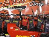 Advance Auto Parts A-Fuel Dragster pilot Josh Hart after winning the NHRA Atco Dragway Divisional race in August 2018
