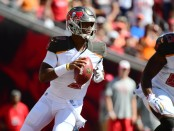 Tampa Bay Buccaneers quarterback Jameis Winston attempts a pass against the Cleveland Browns