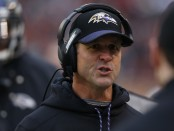 Baltimore Ravens head coach John Harbaugh says something on the sidelines against the Cleveland Browns