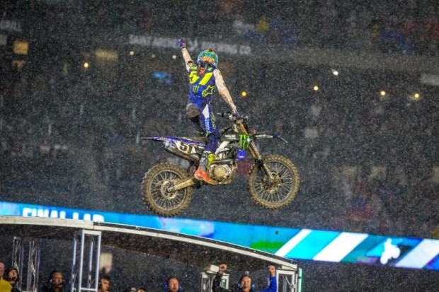 450sx rider Justin Barcia celebrating his 450sx Anaheim 1 main event win