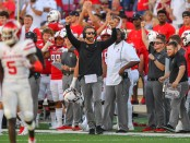 Former Texas Tech Red Raiders head coach Kliff Kingsbury reacts to a defensive stop against the Houston Cougars