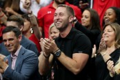 Former Texas Tech Red Raiders head football coach Kliff Kingsbury cheers on the Texas Tech Red Raiders during the second round of the 2018 NCAA Tournament