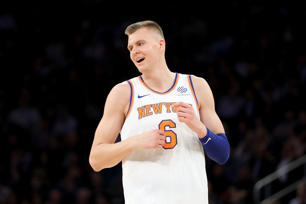 New York Knicks star Kristaps Porziņģis reacts after missing a shot against the Boston Celtics