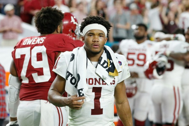 Former Oklahoma Sooners quarterback Kyler Murray walks off the field after the 2019 College Football Semifinal