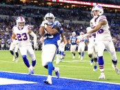 Indianapolis Colts running back Marlon Mack scores a touchdown against the Buffalo Bills