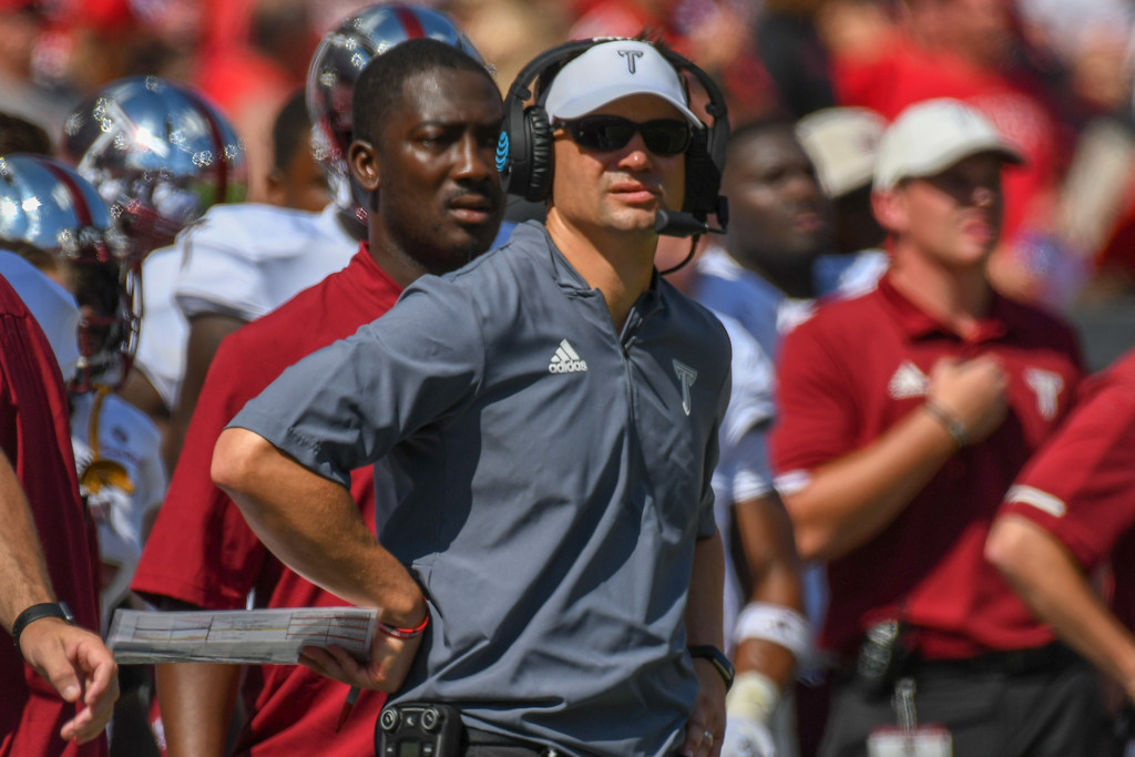 Former Troy Trojans head coach Neal Brown looks on against the Nebraska Cornhuskers