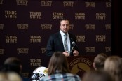 New Head Football Coach Jake Spavital from his introductory press conference at Texas State