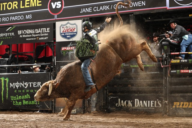 Bull Rider Jose Vitor Leme riding Cochise at the Monster Energy Buck Off at The Garden