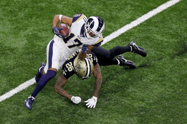 Los Angeles Rams wide receiver Robert Woods makes a reception against the New Orleans Saints in the NFC Championship