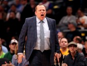 Former Minnesota Timberwolves head coach Tom Thibodeau yells at his team against the Denver Nuggets