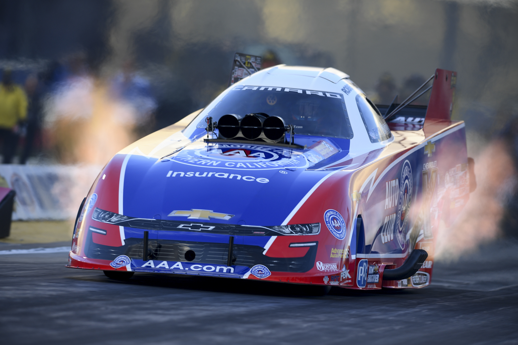 Auto Club of Southern California Funny Car pilot Robert Hight racing on Saturday at the Lucas Oil NHRA Winternationals