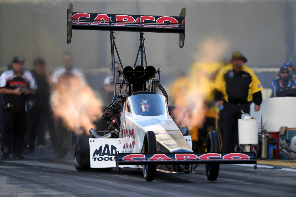 Top Fuel pilot Steve Torrence racing on Saturday at the Lucas Oil NHRA Winternationals