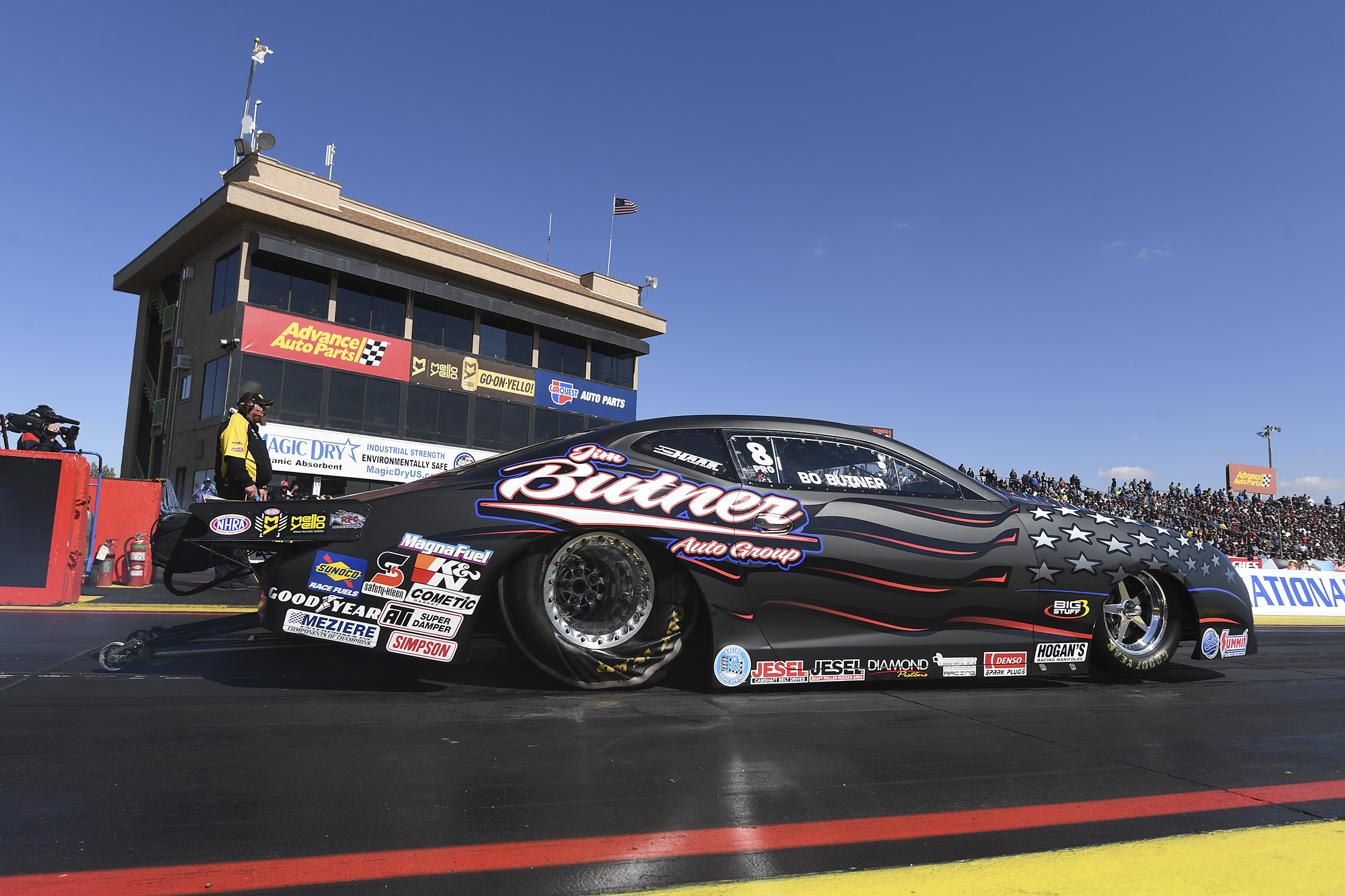 Jim Butner Auto Group's Pro Stock driver Bo Butner racing on Saturday at the 2019 NHRA Arizona Nationals