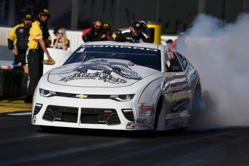 Pro Stock driver Bo Butner racing on Sunday at the Lucas Oil NHRA Winternationals presented by ProtecttheHarvest.com in February 2018