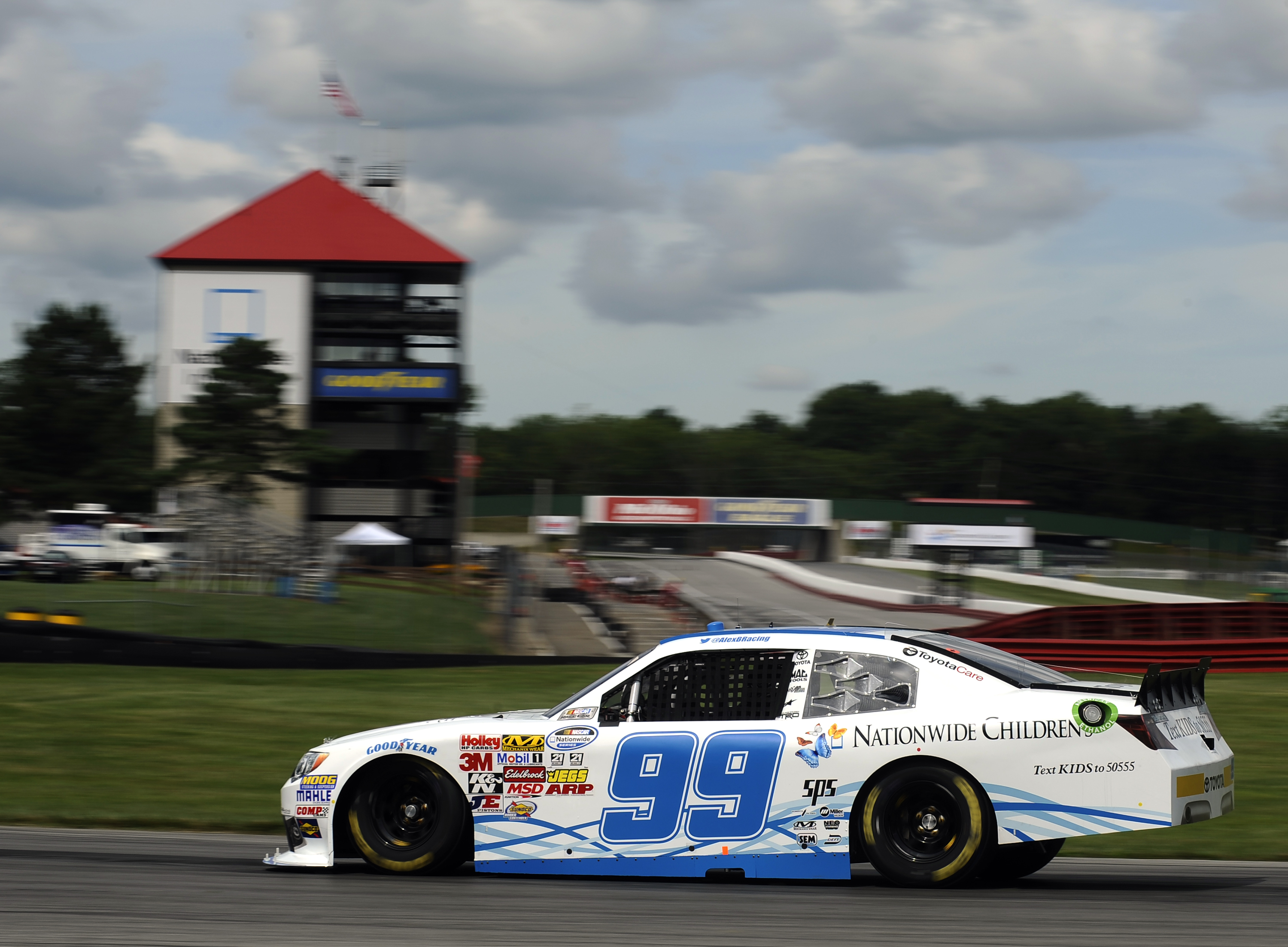 NASCAR Nationwide Series driver Alex Bowman driving the Nationwide Children's Hospital car at the 2013 Mid-Ohio Sports Car Course in Nationwide Children's Hospital 200