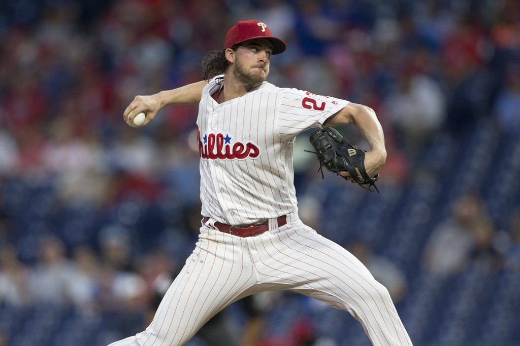 Philadelphia Phillies pitcher Aaron Nola pitching against the Washington Nationals