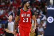 New Orleans Pelicans star Anthony Davis reacts to a call against the Sacramento Kings