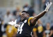 Pittsburgh Steelers wide receiver Antonio Brown jokes around before the preseason game against the Carolina Panthers