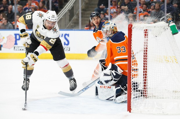 Former Edmonton Oilers goalie Cam Talbot makes a save from a William Carrier shot against the Vegas Golden Knights