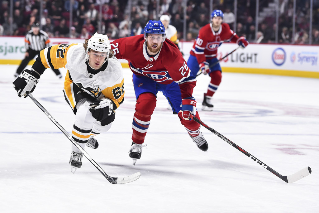 Left Winger Carl Hagelin is seen here playing with the Pittsburgh Penguins against the Montreal Canadiens