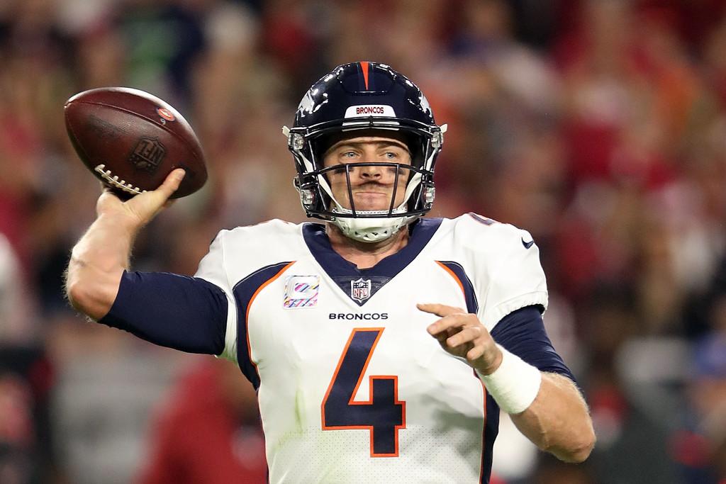 Denver Broncos quarterback Case Keenum throws a pass against the Arizona Cardinals