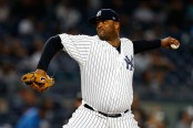 New York Yankees pitcher C.C. Sabathia pitching against the Baltimore Orioles