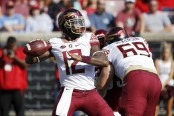 Former Florida State Seminoles quarterback Deondre Francois attempts a pass against Louisville Cardinals