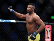 MMA fighter Francis Ngannou enters the octagon before his fight with Stipe Miocic at UFC 220