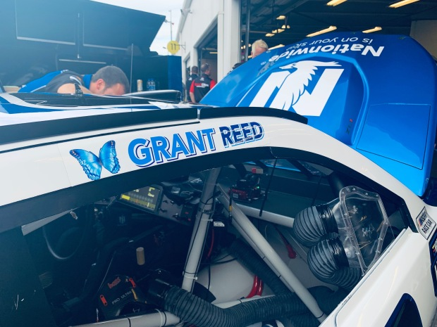 Grant Reed Passenger decal on the No. 88 Nationwide Car driven by Alex Bowman