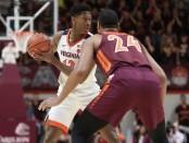 Virginia Cavaliers guard De'Andre Hunter playing against the Virginia Tech Hokies