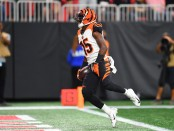 Cincinnati Bengals wide receiver John Ross scoring a touchdown against the Atlanta Falcons