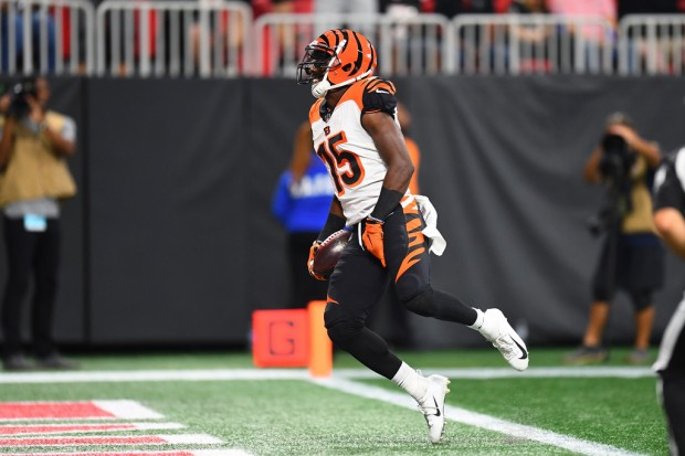 Cincinnati Bengals wide receiver John Ross scoring a touchdown against the Atlanta Falcons