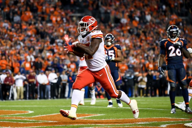 Former Kansas City Chiefs running back Kareem Hunt scoring a touchdown against the Denver Broncos