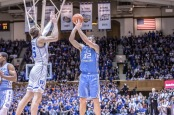 North Carolina Tar Heels forward Luke Maye attempting a shot against the Duke Blue Devils
