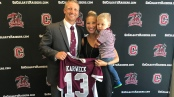 New Men's Lacrosse Head Coach Matt Karweck with his family at his Colgate press conference