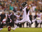 Atlanta Falcons kicker Matt Bryant attempts a field goal against the Philadelphia Eagles