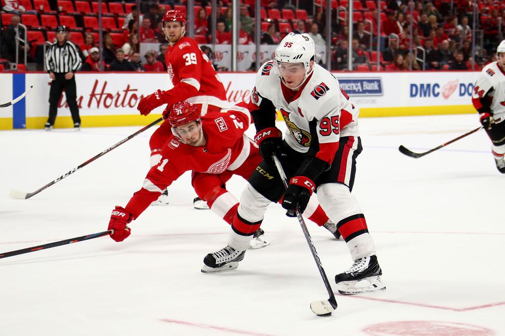Former Ottawa Senators center Matt Duchene looks for a shot against the Detroit Red Wings