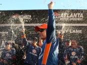 Monster Energy NASCAR Cup Series driver Brad Keselowski celebrates the win at Folds of Honor QuikTrip 500 at Atlanta Motor Speedway in Hampton, Georgia