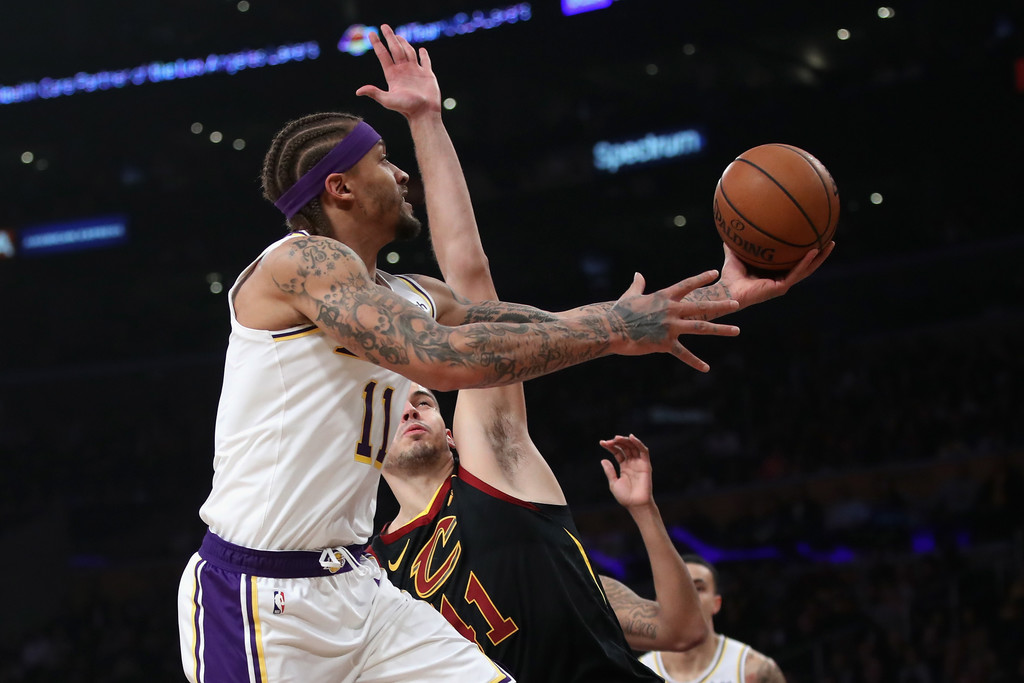 Former Los Angeles Lakers forward Michael Beasley attempts a shot against the Cleveland Cavaliers