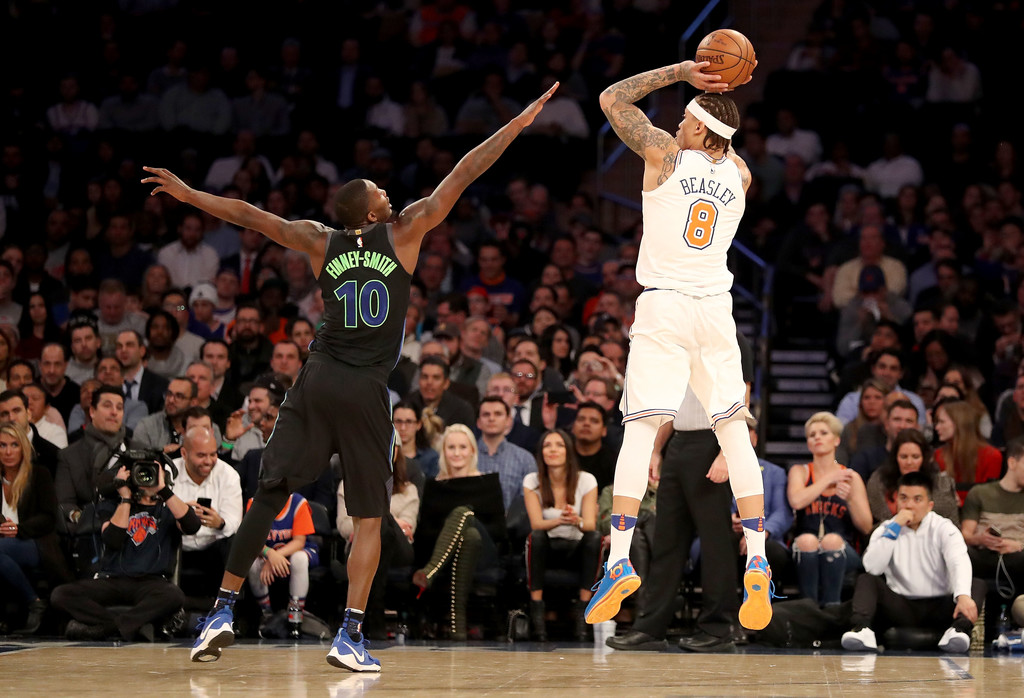 Former New York Knicks forward Michael Beasley attempting a shot against the Dallas Mavericks