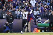 Former Baltimore Ravens wide receiver Michael Crabtree catches a pass against the New Orleans Saints